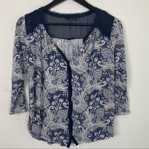 Lucky Brand Button Down Floral Top